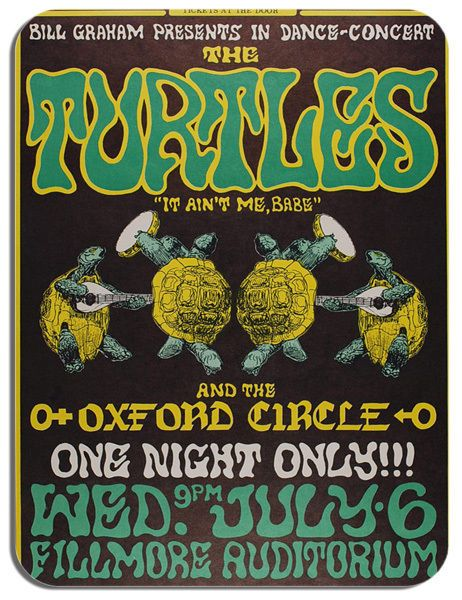 The Turtles Concert Poster Mouse Mat Psychedelic Rock Mouse pad
