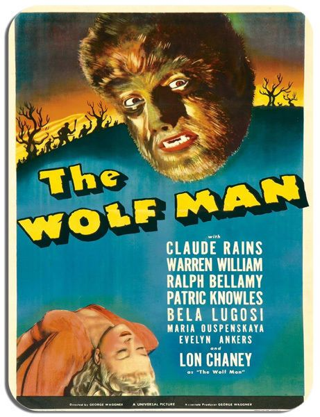 The Wolf Man Vintage Film Poster Mouse Mat. Chaney, Rains Horror Movie Mouse Pad