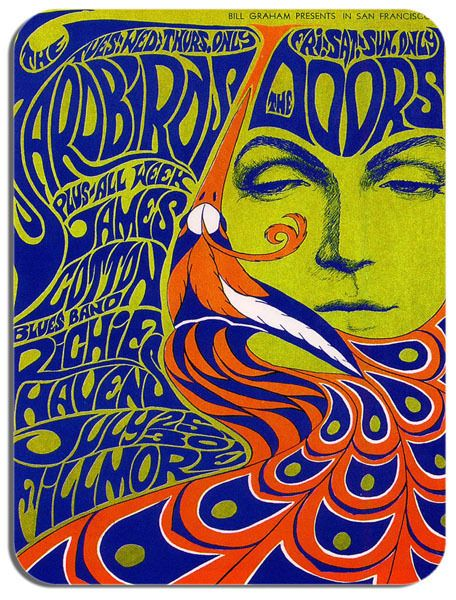 The Yardbirds Doors Psychedelic Concert Poster Mouse Mat. Retro Mouse pad