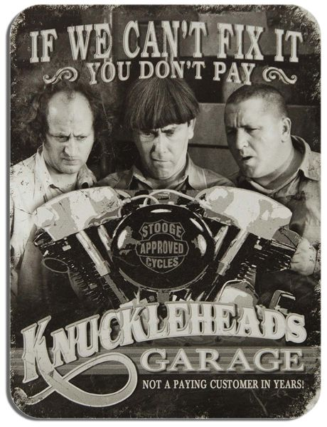 Three Stooges Knuckleheads Garage Mouse Mat. High Quality  Motorbike Mouse Pad