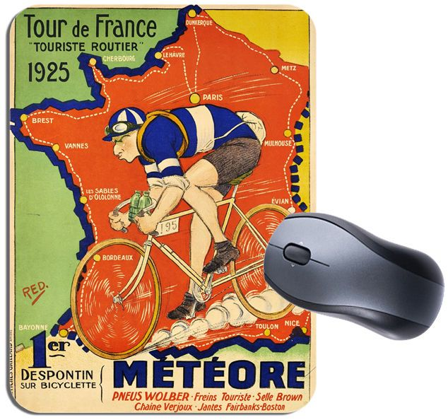 Tour de France Map 1925 Vintage Poster Mouse Mat. Meteore Bike Cycling Mouse Pad