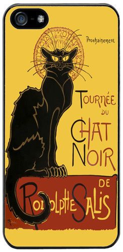 Tournee du Chat Noir Steinlen Black Cat Art Rubber Cover/Case For iPhone 5/5S