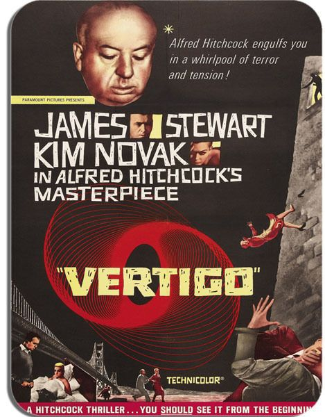 Vertigo Vintage Movie Poster Mouse Mat. Film Novelty Mouse Pad Alfred Hitchcock