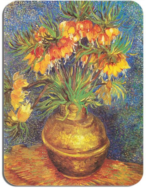 Vincent Van Gogh Bell Lilies in a Copper Vase Mouse Mat. Quality Mouse Pad