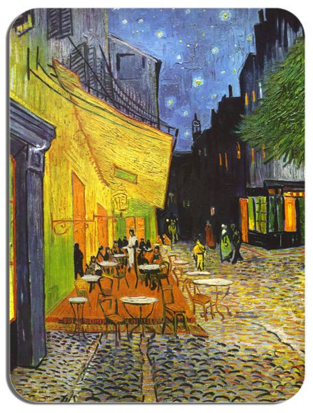 Vincent Van Gogh Cafe Terrace at Night Mouse Mat. Quality Art Print Mouse Pad