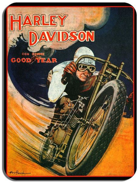 Vintage 1920s Harley Davidson Good Year Motorcycle Race