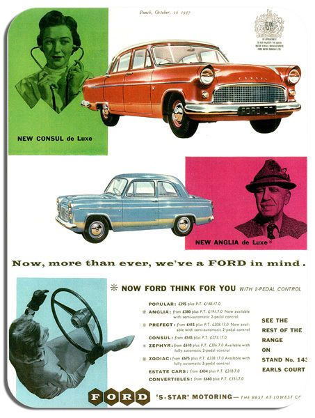 Vintage 1959 Ford British Ad Mouse Mat. Classic Car Mouse pad. Brochure Punch