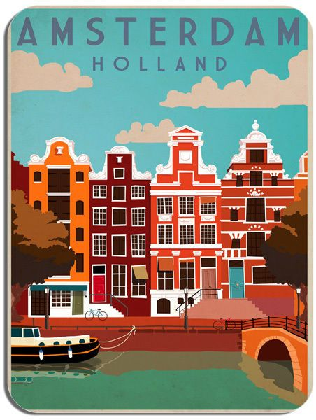 Vintage Amsterdam Houses Travel Poster Mouse Mat. Holland Tour Advert Mouse Pad