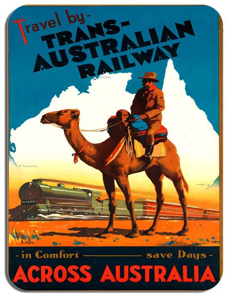 Vintage Australia Travel Poster Mouse Mat. Railway Train Tourism Mouse Pad