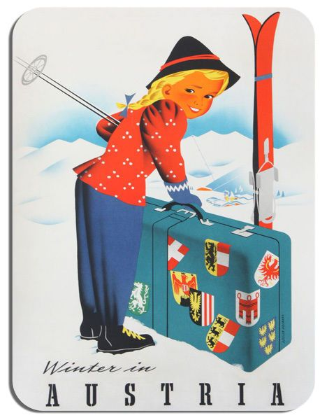 Vintage Austria Travel Poster Mouse Mat High Quality Skiing Advert Mouse Pad Ski