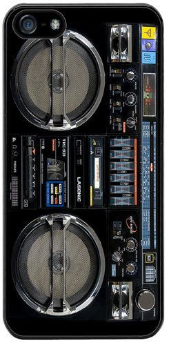 Vintage Boom Box Ghetto Blaster High Quality Rubber Cover/Case Fits iPhone 5/5S