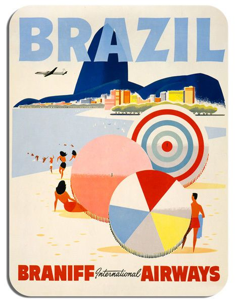 Vintage Brazil Braniff Airways Travel Poster Mouse Mat. Tourism Mouse Pad Gift