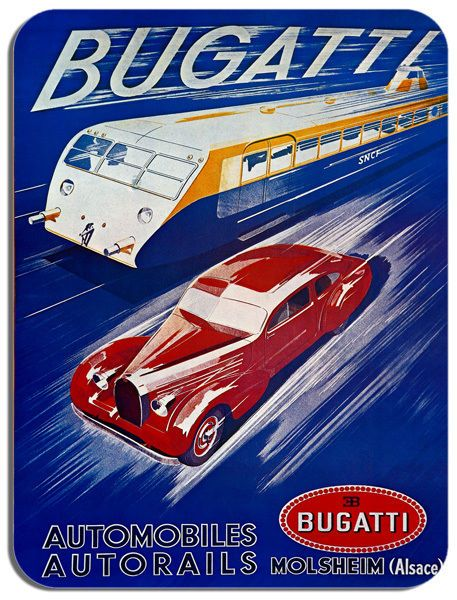 Vintage Bugatti Car & Train Advertisement Mouse Mat Classic Car Mouse pad Gift
