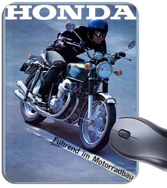 Vintage CB750 Motorcycle German Dealer Poster Mouse Mat. Motorbike Mouse Pad