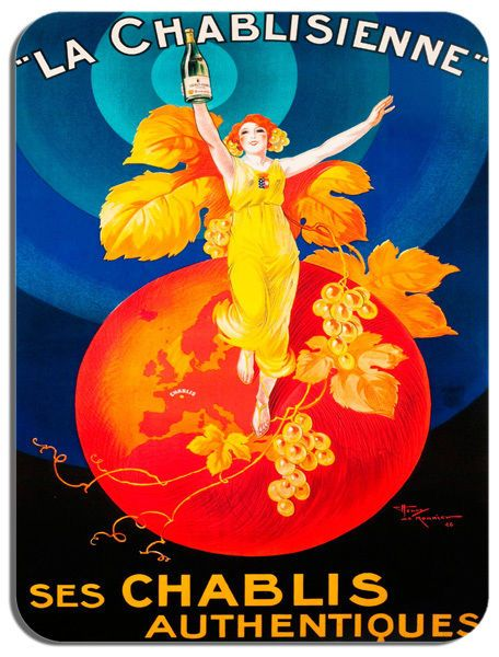 Vintage Chablis Wine French Advertising Poster Mouse Mat. Quality Art Mouse Pad