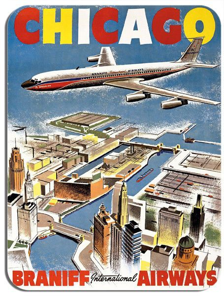Vintage Chicago Braniff Airways Travel Poster Mouse Mat. Tourism Mouse Pad Gift