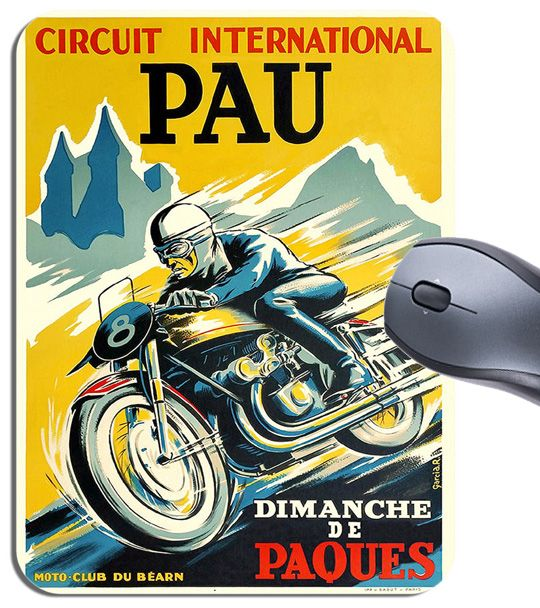 Vintage Circuit Pau Motorbike Race Mouse Mat French Motorcycle GP Art Mouse Pad