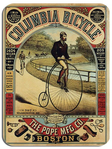 Vintage Columbia Bicycle Advert Mouse Mat. Penny Farthing Bike Cycling Mouse pad