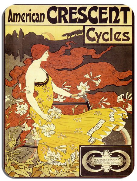 Vintage Crescent Cycles Bicycle Advert Poster Mouse Mat. Bike Cycling Mouse pad