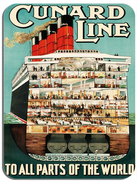 Vintage Cruise Ocean Liner Travel Poster Mouse Mat. Tourism Advert Mouse Pad