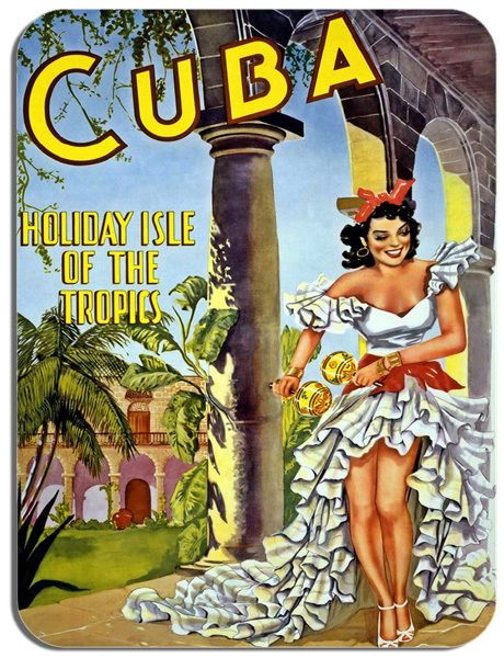 Vintage Cuba Holiday Isle Of The Tropics Poster Mouse Mat High Quality Mouse Pad