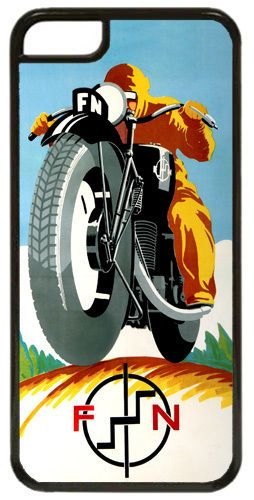 Vintage FN Motorcycle Ad Cover Case For iPhone 5C Motorbike High Quality Classic
