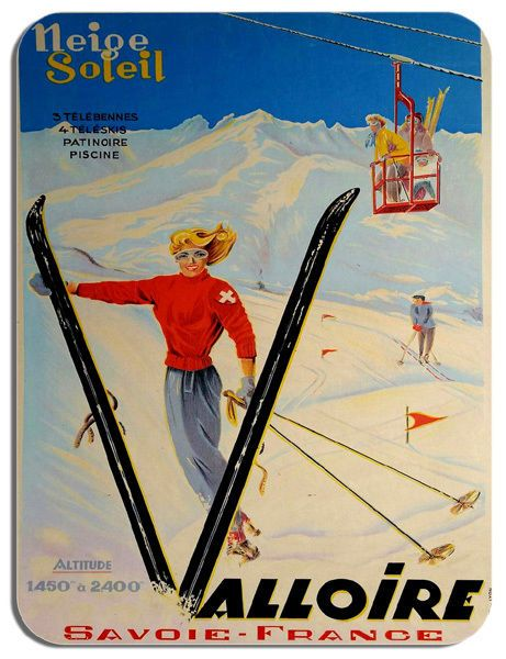 Vintage French Travel Poster Mouse Mat Savoie France Skiing Advert Mouse Pad Ski