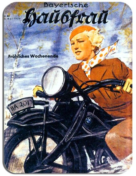 Vintage German 30's Motorcycle Mouse Mat Motorbike Biker Girl Mouse pad Classic