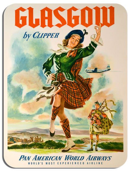 Vintage Glasgow Travel Poster Mouse Mat High Quality Scotland Advert Mouse Pad