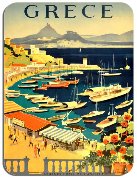 Vintage Greece Travel Poster Mouse Mat. Athens Tourism Advert Mouse Pad Gift