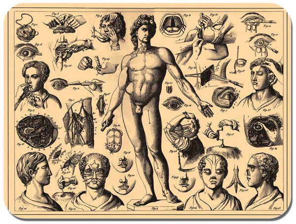 Vintage Human Surgery Chart Mouse Mat. Doctors Amputation Medical Mouse Pad