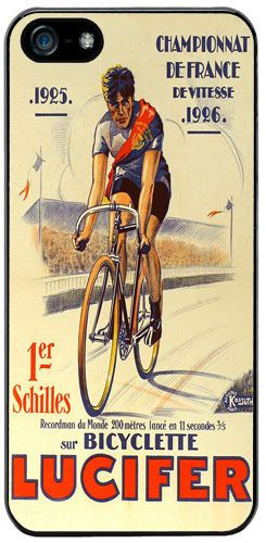 Vintage Lucifer Bicycle Advert Poster High Quality Cover/Case For iPhone 5/5S