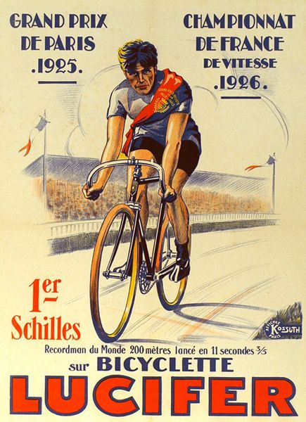 Vintage Lucifer French Bicycle Advert Poster T Shirt. 13 Sizes. Classic Cyclist