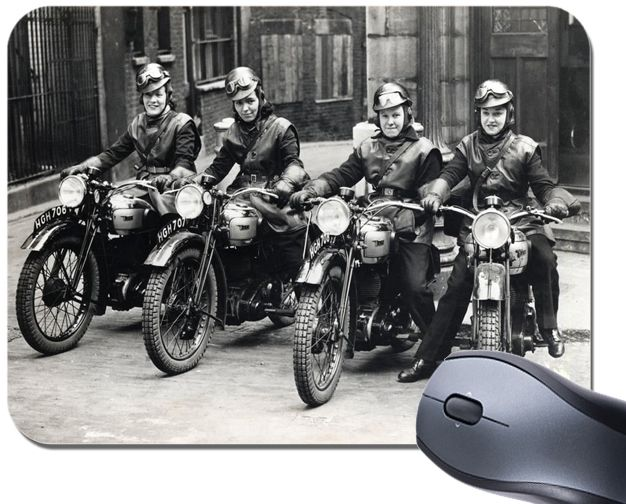 Vintage Motorcycles Mouse Mat. Real Women On Motorbikes Bike Mouse Pad
