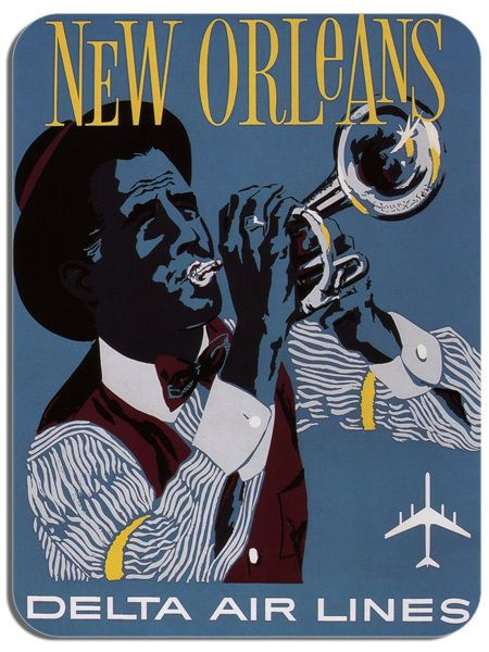 Vintage New Orleans Travel Poster Mouse Mat. Quality Jaz Blues Advert Mouse Pad