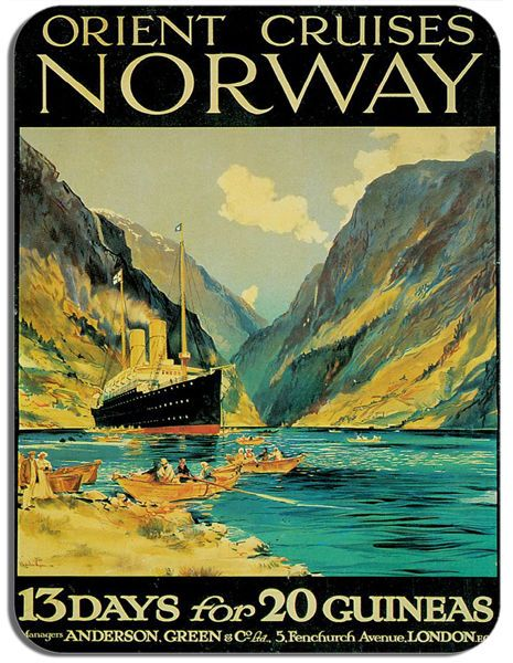 Vintage Norway Travel Poster Mouse Mat. Orient Cruises High Quality Mouse Pad