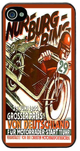 Vintage Nurburgring Motorcycle Racing Ad Cover Case For iPhone 4/4S Classic bike