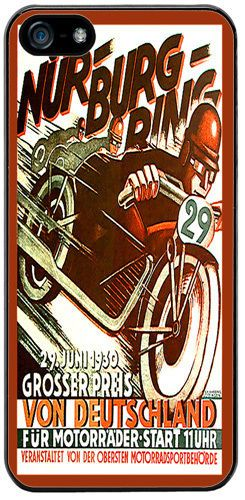 Vintage Nurburgring Motorcycle Racing Ad Cover Case For iPhone 5/5S High Quality