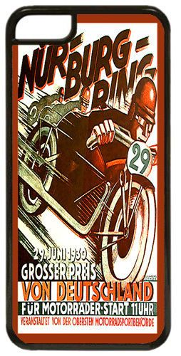Vintage Nurburgring Motorcycle Racing Ad Cover Case For iPhone 5C. High Quality