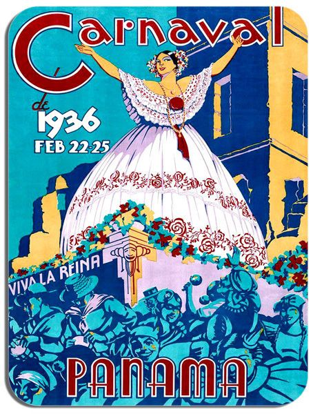 Vintage Panama Carnaval Poster Mouse Mat High Quality 30's Advert Mouse Pad Art