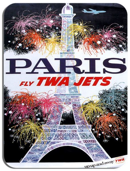 Vintage Paris Travel Poster Mouse Mat High Quality Airline 60's Advert Mouse Pad