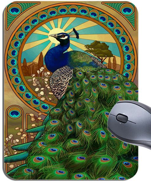 Vintage Peacock Art Nouveau Poster Mouse Mat. High Quality Art Mouse Pad Gift