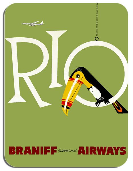 Vintage Rio Braniff Airways Travel Poster Mouse Mat Tourism Print Mouse Pad Gift