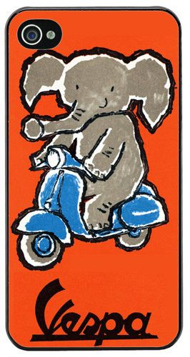 Vintage Scooter & Elephant Poster High Quality Cover/Case For iPhone 4/4S. Mod