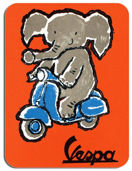 Vintage Scooter & Elephant Poster Mouse Mat Classic Mod Sixties Advert Mouse pad