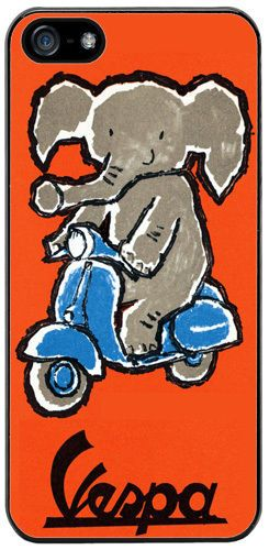 Vintage Scooter & Elephant Poster Rubber Cover/Case For iPhone 5/5S. Mod Gift