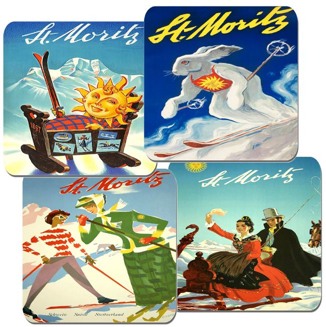 Vintage St Moritz Travel Poster Coasters Set. High Quality Cork Swiss Ski Resort