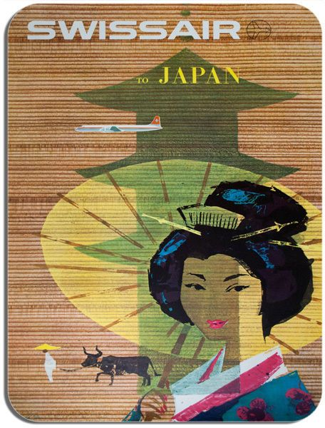 Vintage Swissair Japan Travel Poster Mouse Mat. Tourism Geisha Mouse Pad Gift