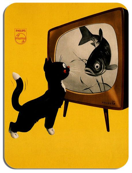 Vintage Television Cat Advert Mouse Mat. Classic 1960s Poster Mouse Pad