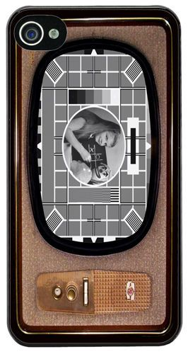 Vintage Television Cover/Case Fits iPhone 4/4S Test Card In Black & White Telly